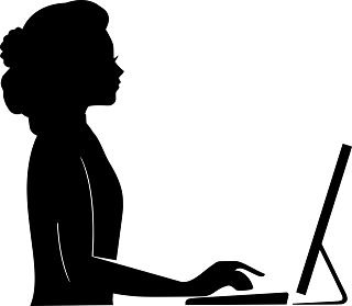A vector graphic of a person working at a computer.