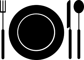 A vector graphic of a plate, knife, fork, and spoon.